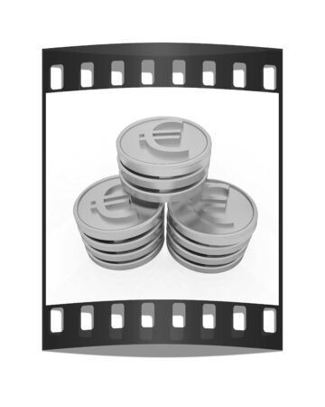 euro coins: Gold euro coins on a white background. The film strip