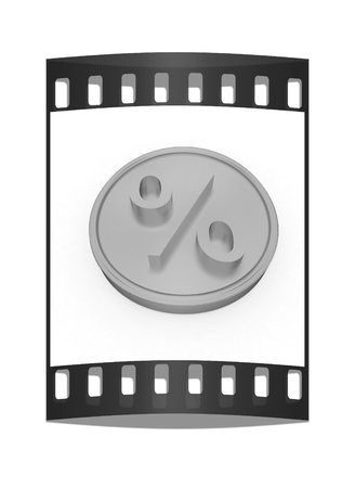 yellow hills: Gold percent coin on a white background. The film strip
