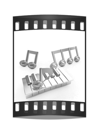 minims: 3d note on a piano on a white background. The film strip