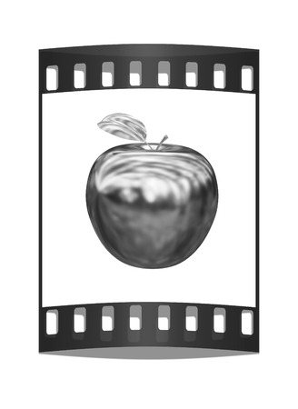 gilt: Metal apple isolated on white background. The film strip