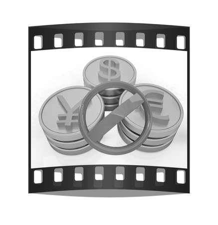 prohibitive: gold coins with 3 major currencies and prohibitive sign on a white background. The film strip Stock Photo