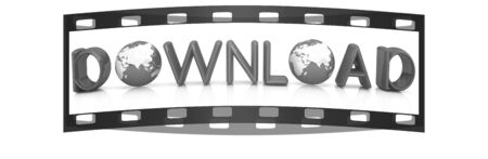 shareware: word Download on a white background. The film strip
