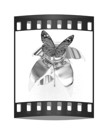 butterflys: Blue butterflys on a chrome flower with a gold head on a white background. The film strip