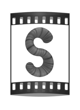 prinitng block: Wooden Alphabet. Letter S on a white background. The film strip Stock Photo