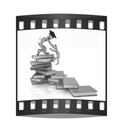 Welcome to best of knowledge! On a white background. The film strip photo