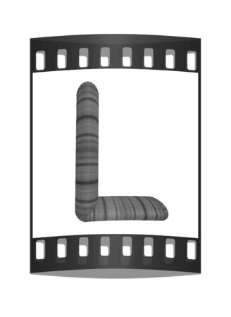 prinitng block: Wooden Alphabet. Letter L on a white background. The film strip Stock Photo