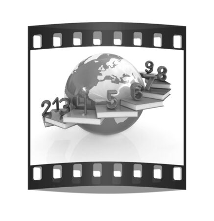 6 7: Global Education and numbers 1,2,3,4,5,6,7,8,9 on a white background. The film strip