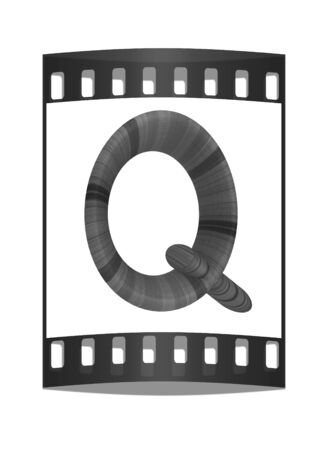 prinitng block: Wooden Alphabet. Letter Q on a white background. The film strip