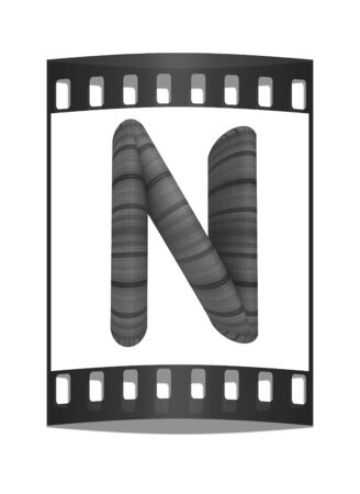 prinitng block: Wooden Alphabet. Letter N on a white background. The film strip