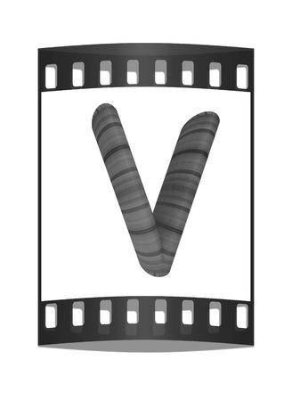 prinitng block: Wooden Alphabet. Letter V on a white background. The film strip