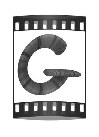 prinitng block: Wooden Alphabet. Letter G on a white background. The film strip
