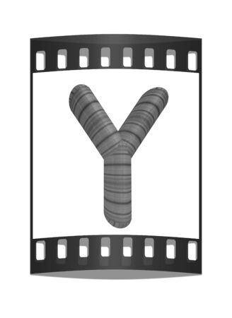 prinitng block: Wooden Alphabet. Letter Y on a white background. The film strip