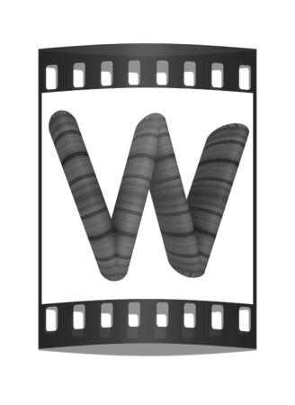 prinitng block: Wooden Alphabet. Letter W on a white background. The film strip