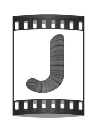 prinitng block: Wooden Alphabet. Letter J on a white background. The film strip Stock Photo