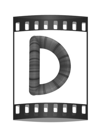 prinitng block: Wooden Alphabet. Letter D on a white background. The film strip Stock Photo