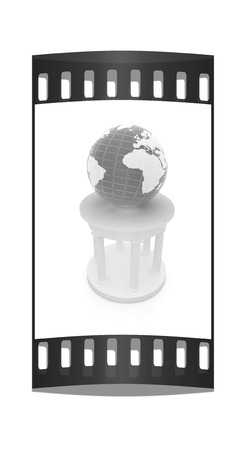 doric: Rotunda and erth on a white background. Global cultural concept in architecture. The film strip