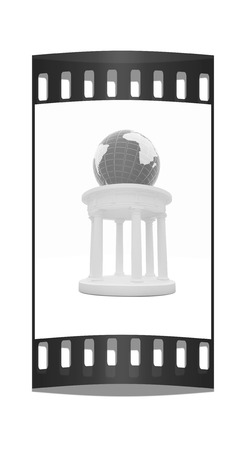 rotunda: Rotunda and erth on a white background. Global cultural concept in architecture. The film strip