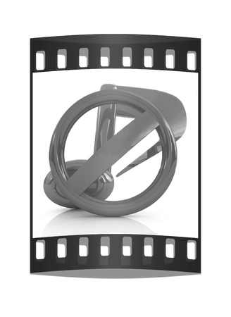 style advice: Prohibition of noise and music on a white background. The film strip