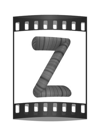 prinitng block: Wooden Alphabet. Letter Z on a white background. The film strip