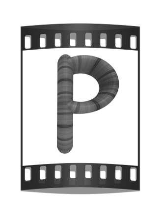 prinitng block: Wooden Alphabet. Letter P on a white background. The film strip Stock Photo