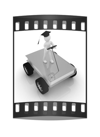 rapid: on race cars in the world of knowledge. The concept of rapid learning on a white background. The film strip Stock Photo
