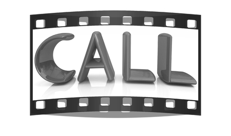 3d illustration of text call, search engine optimization symbol. The film strip