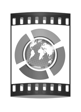 yellowautumn: Earth and four semi-circle. The concept of four-time season ( winter-blue,spring-green,  summer-red,yellow-autumn). 3d button. The film strip Stock Photo
