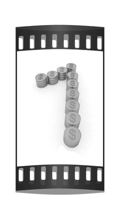 the number one of gold coins with dollar sign on a white background. The film strip photo