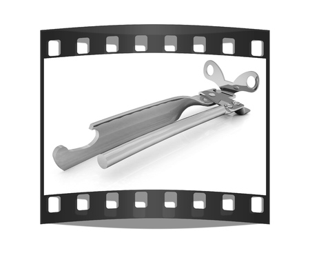 chrome base: A can opener isolated against a white background (CLIPPING PATH). The film strip
