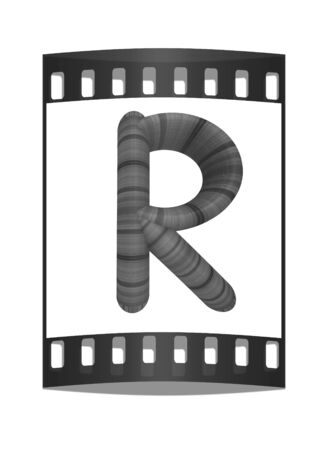 prinitng block: Wooden Alphabet. Letter R on a white background. The film strip