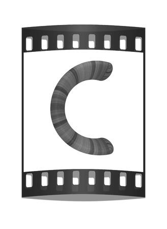 prinitng block: Wooden Alphabet. Letter C on a white background. The film strip