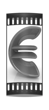 3d illustration of text euro on a white background. The film strip