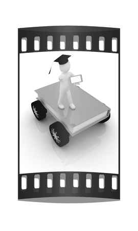 rapid: on race cars in the world of knowledge. The concept of rapid learning with tablet pc on a white background. The film strip