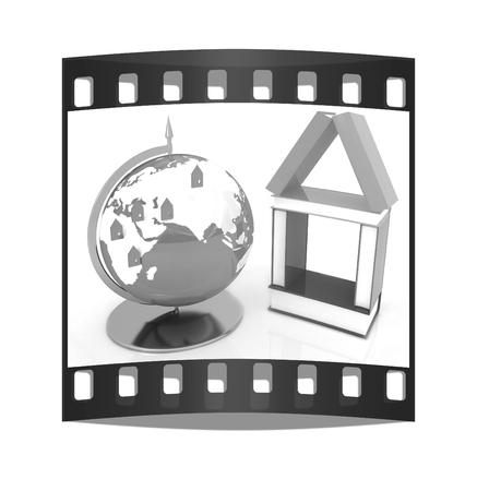 globally: Business concept. Globally. On a white background. The film strip