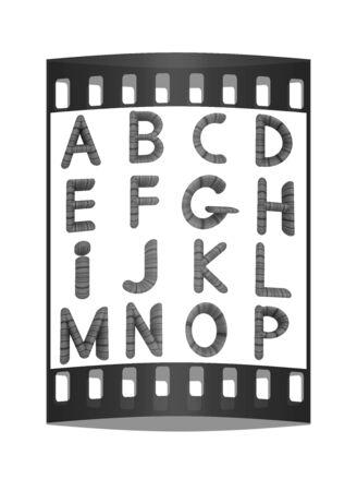 prinitng block: Wooden Alphabet set on a white background. The film strip
