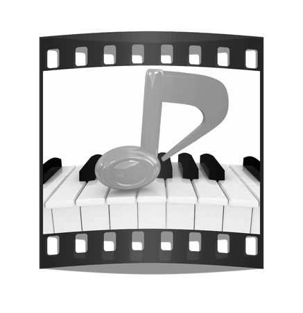 minims: 3d note on a piano. On a white background. The film strip Stock Photo