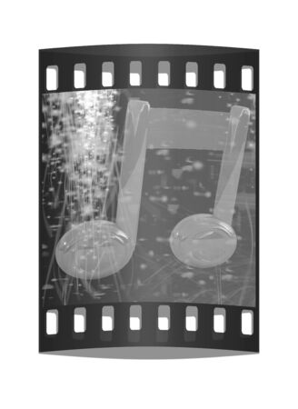 crotchets: 3d note on red fantasy background. The film strip