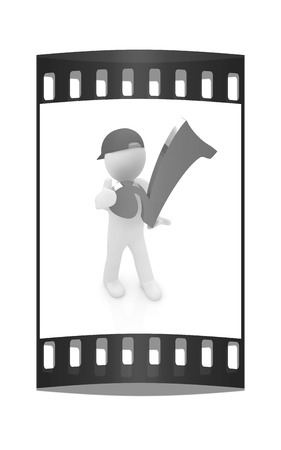 peaked: 3d man in a red peaked cap with thumb up and a huge tick on a white background. The film strip Stock Photo