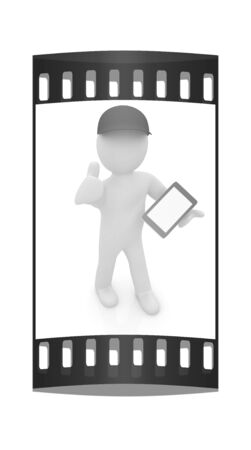 ereader: 3d white man in a red peaked cap with thumb up and tablet pc on a white background. The film strip
