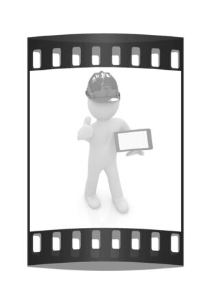 ereader: 3d white man in a hard hat with thumb up and tablet pc on a white background. The film strip