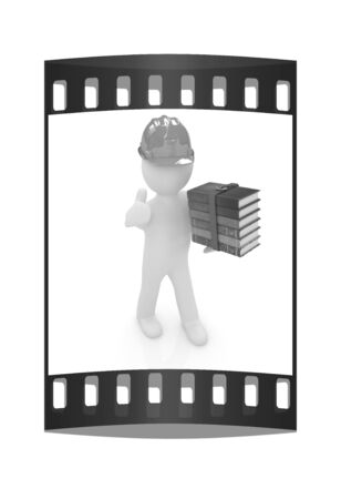 literary man: 3d man in a hard hat with thumb up presents the best technical literature on a white background. The film strip Stock Photo