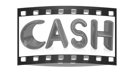 3d illustration of text cash on a white background. The film strip