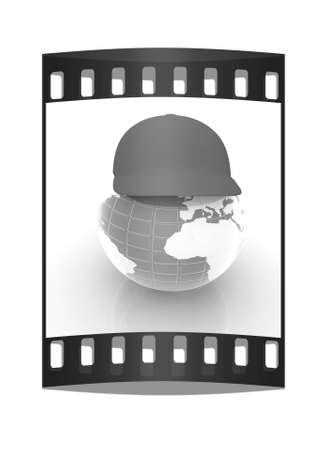 peaked cap: Earth in a red peaked cap. 3d icon. Concept: Summer Holidays and travel on a white background. The film strip