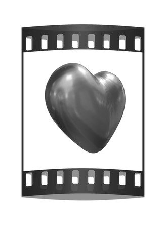 metall: 3d glossy metall heart isolated on white background. The film strip