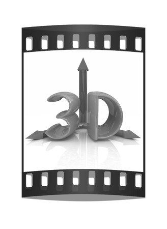 stereoscope: 3d text on a white background. The film strip