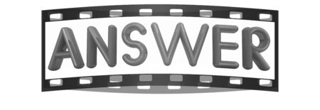 solver: answer 3d red text on a white background. The film strip Stock Photo