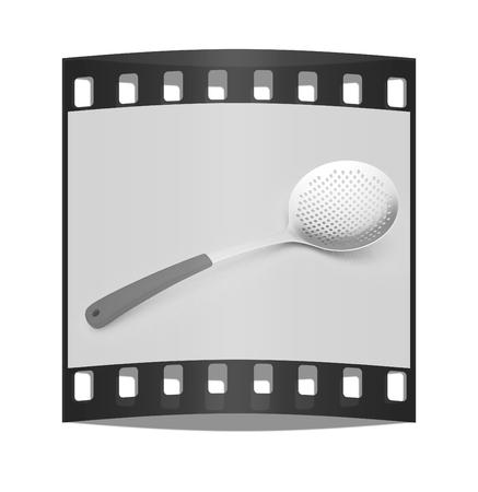 heatproof: skimmer on light gray background. The film strip Stock Photo