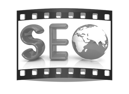 3d illustration of text SEO with earth globe on a white background. The film strip Reklamní fotografie