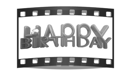 Happy Birthday3d colorful text with earth on a white background. The film strip photo