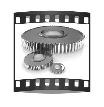 Gear set. Concept is the main link on a white background. The film strip